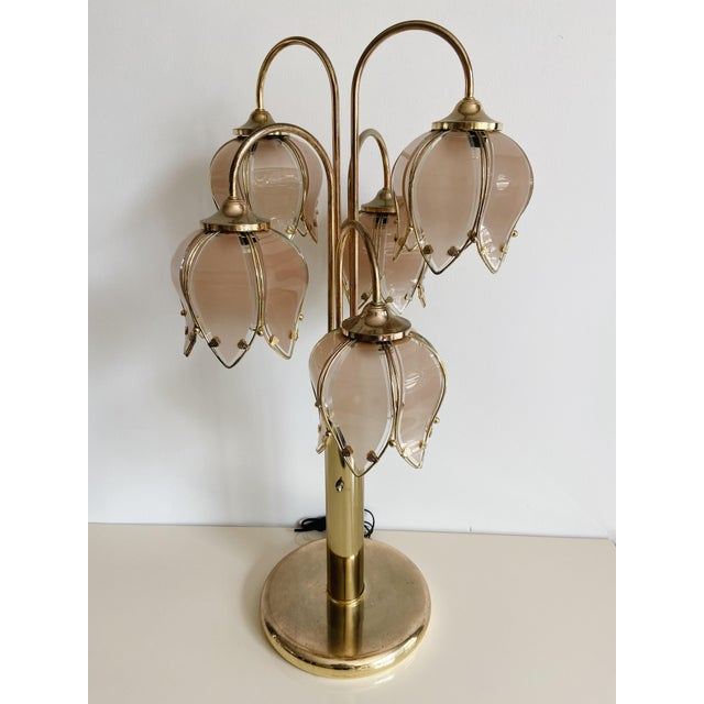 Vintage Pink Glass Tulip & Brass Table Lamp For Sale - Image 9 of 9