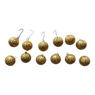 Vintage Gold Filigree Christmas Ball Ornaments- Set of 12 For Sale