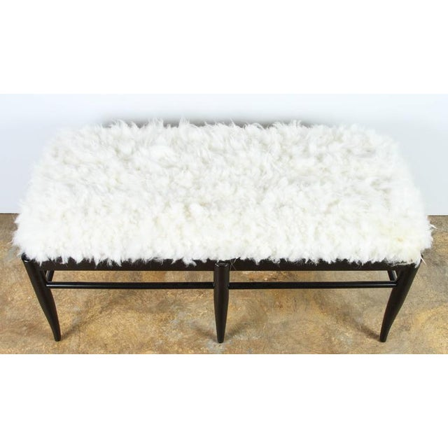 Paul Marra Gio Ponti Inspired Bench in Natural Sheepskin For Sale - Image 4 of 6