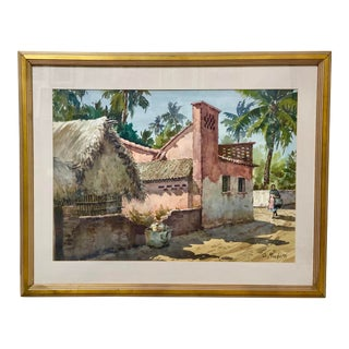 Vintage Watercolor Painting Mexican Town Signed For Sale