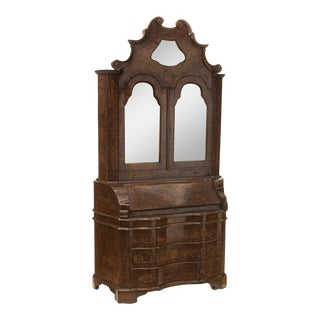 Antique Italian Baroque Style Burl Walnut Secretary Cabinet For Sale