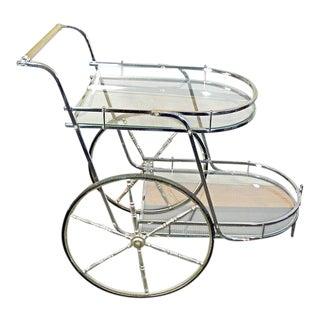 Vintage Chrome & Glass Mid-Century Regency Bar Cart