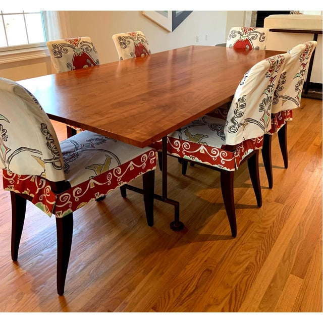 Industrial Style Custom Dining Table With Heavy Iron Base For Sale - Image 4 of 7