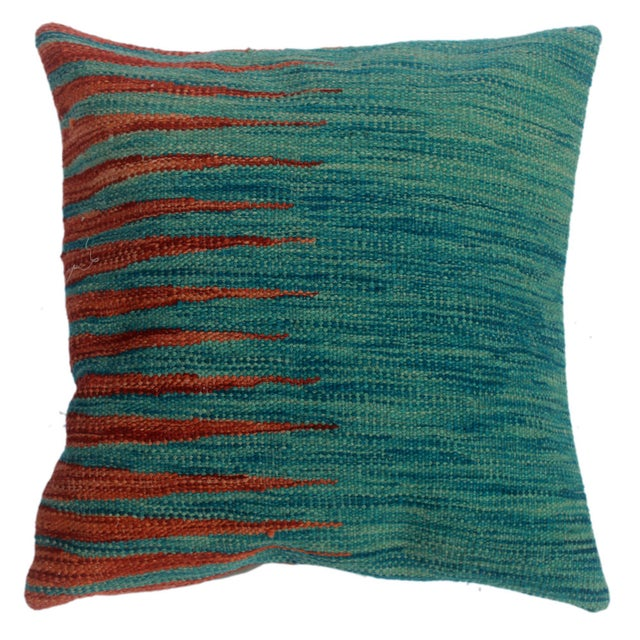 """Desmond Blue/Rust Hand-Woven Kilim Throw Pillow(18""""x18"""") For Sale In New York - Image 6 of 6"""