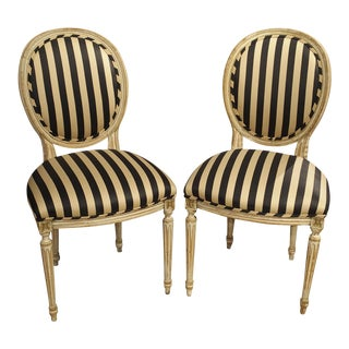 Pair of Parcel Painted Antique Louis XVI Style Side Chairs For Sale