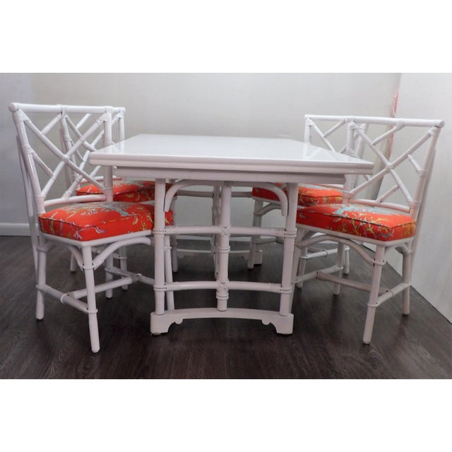 Chinoiserie, Wrapped Bamboo Dining Set - 5 Pieces For Sale - Image 10 of 13