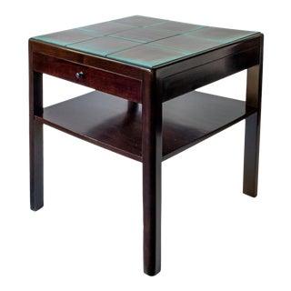 Reiners Möblefabrik, Swedish Modernist Ebonized Birch & Turquoise Tile-Top Table For Sale