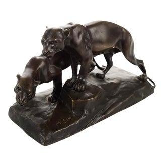 Michael Six Original Mountain Lions Bronze Sculpture For Sale