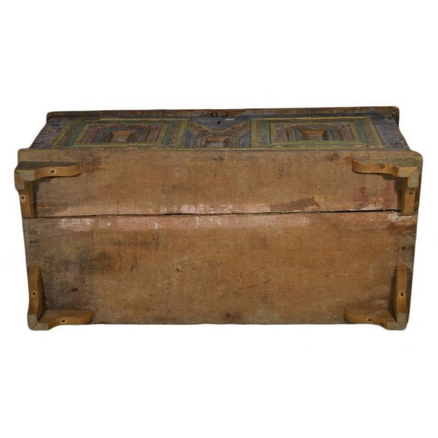 Antique Indian Hand-Carved and Painted Trunk with Patina, 19th Century For Sale - Image 4 of 11