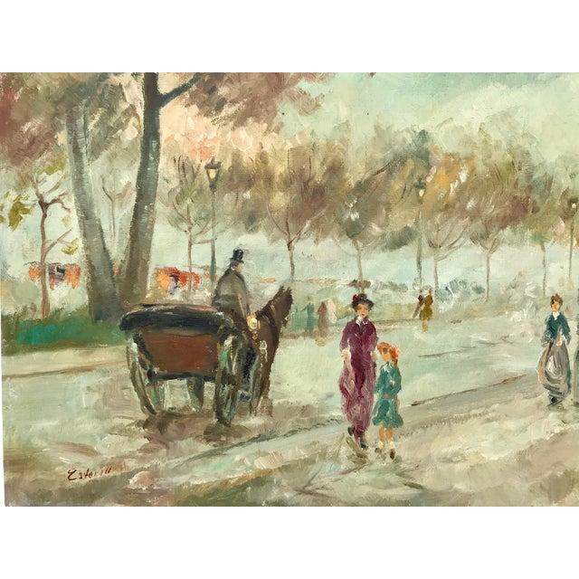 1950s 1950s Vintage Pastel Paris City Scene Painting For Sale - Image 5 of 8