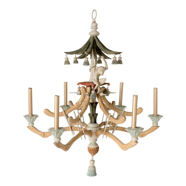 Faux bamboo monkey 6 arm chandelier chairish faux bamboo monkey 6 arm chandelier aloadofball Images