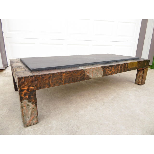 Vintage 1960's/1970's mixed metal patchwork, slate top coffee table, designed by Paul Evans. Really unique high quality...