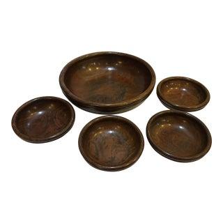 Vintage Wooden Salad Bowls - Set of 5 For Sale