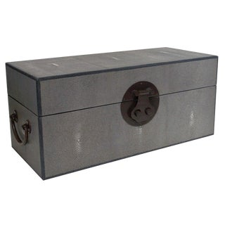 Fabio Ltd Gray Shagreen Wood Box For Sale