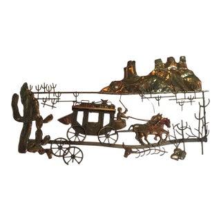 Vintage Jere Style Mid-Century Modern Brutalist Western Landscape Copper Wall Art For Sale