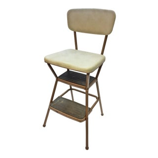 Mid Century Beige Vinyl & Metal Cosco Step Stool