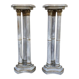 Italian Hand Painted Wood Columns in Gray and White With Gilt Accents - A Pair For Sale