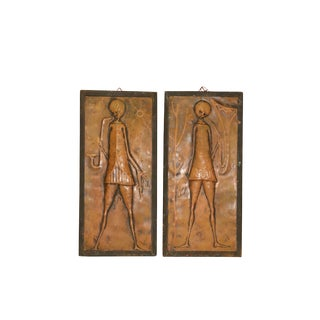 Mid Century Modern Copper Art - a Pair For Sale