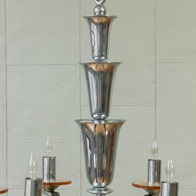 1930s 1930s French Deco Chrome-Plated Chandelier by Petitot For Sale - Image 5 of 11