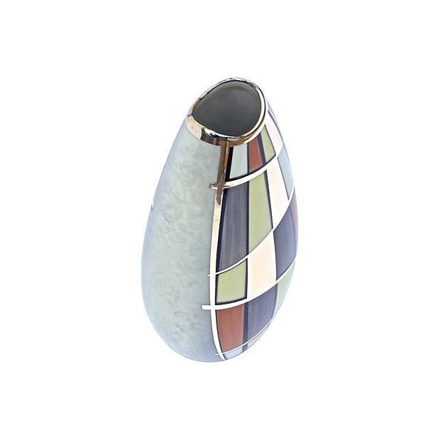 Mid-Century Mod Manfred Vehyl Silver Overlay Vase For Sale - Image 4 of 6