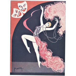 Matted Art Deco French Music Hall Program Print For Sale
