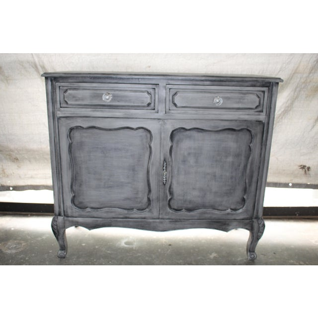 Vintage 20th Century French Cabinet Silver leaf brass handles refinished in blue gray oak wood. Imported from France.