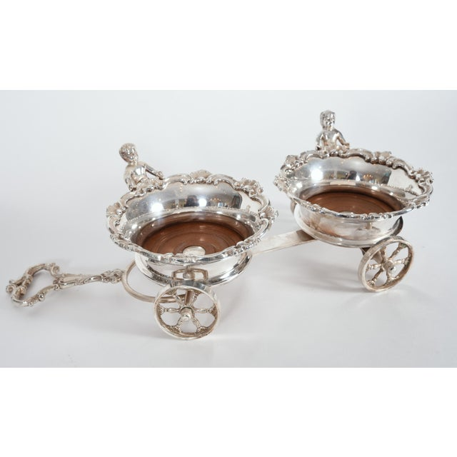 Vintage English Silver Plate Wheeled Carriage Drinks / Decanter Holder For Sale - Image 4 of 10