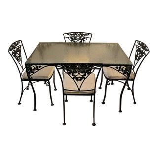 1950s Woodard Orleans Wrought Iron Dinette Set - 5 Pieces For Sale