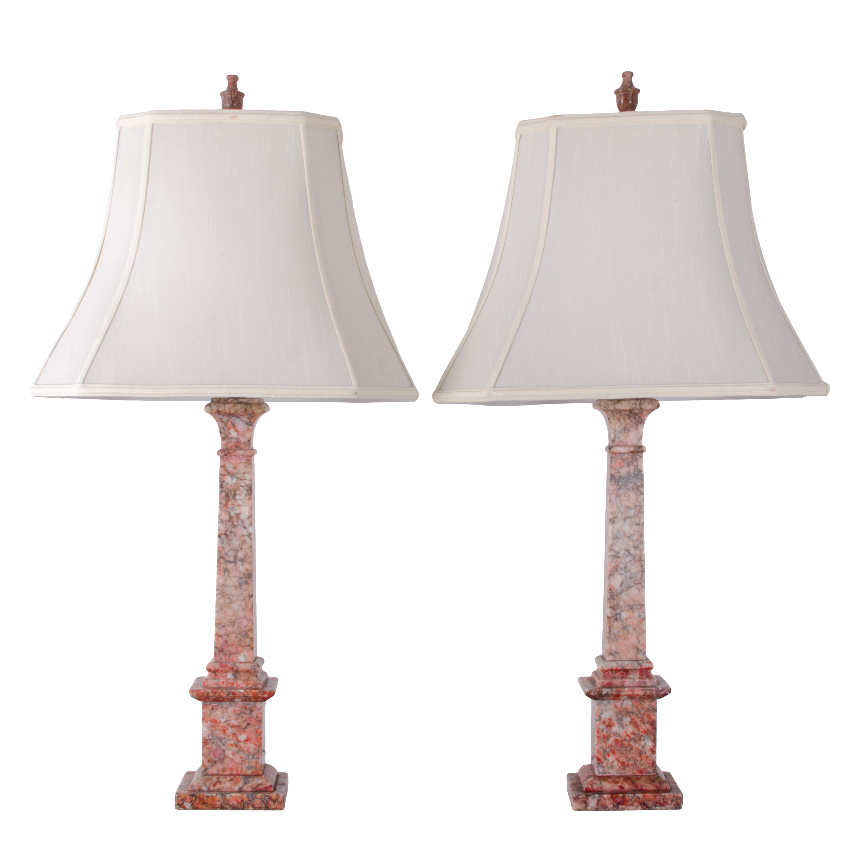 Marble Column Lamps   A Pair