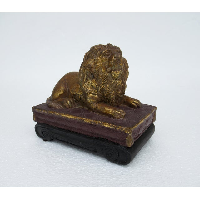 C.1980s' Gilt gold leaf encrusted, carved lion accent and/or paperweight on a scroll pedestal base. A conglomerate of...