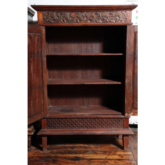 Antique Javanese Teakwood Cabinet with Detailed Carvings, Early 20th Century For Sale - Image 9 of 11