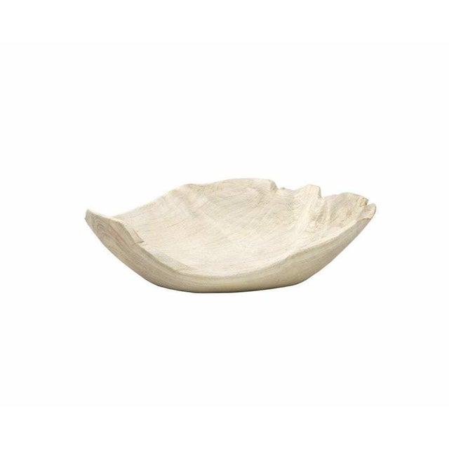 Contemporary Organic Modern Wood Leaf Chip Bowl For Sale - Image 3 of 3