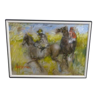 1970's Coconut Grove Jockeys Horses Oil Painting by Anthony Scornavacca
