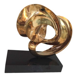 1970s Abstract Swirl Sculpture Gold Wash Over Bronze on Black Base by Amedeo Fiorese For Sale