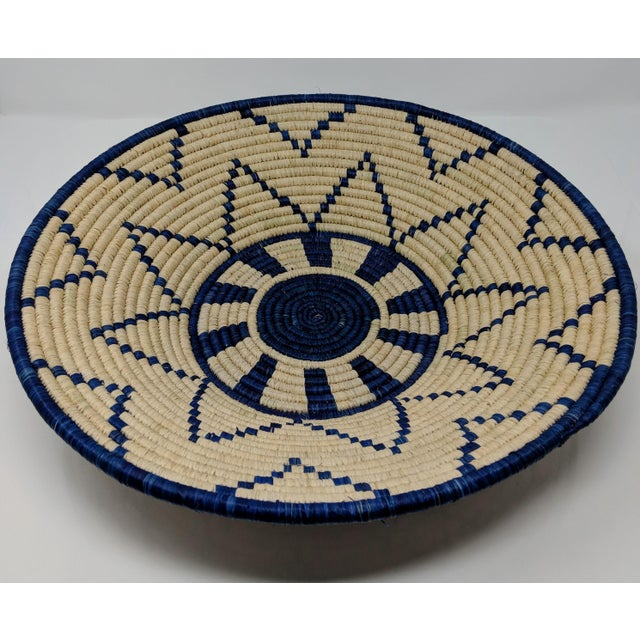Blue Large Woven Ugandan Basket For Sale - Image 8 of 8