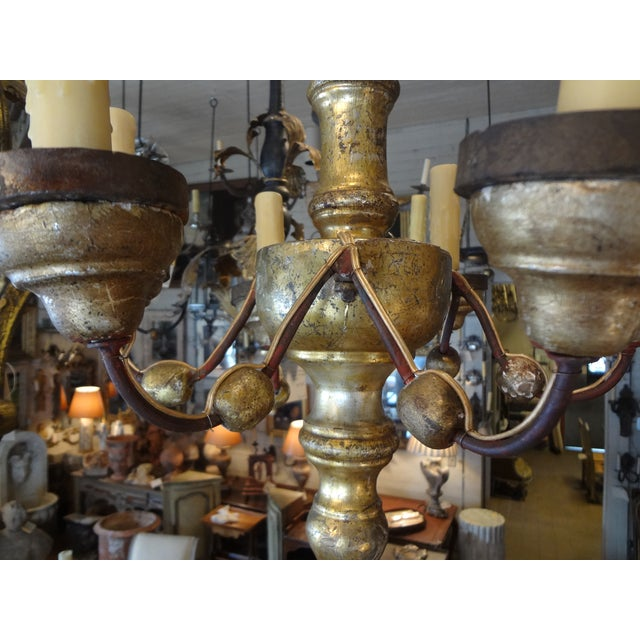 Italian 19th Century Gilt Wood Chandelier For Sale - Image 4 of 10