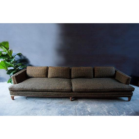 Monteverdi-Young Mid-Century Black Mustard Wool Herringbone Sofa - Image 5 of 7