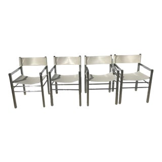1970's Mod Chrome and Pleather Chairs - Set of 4 For Sale