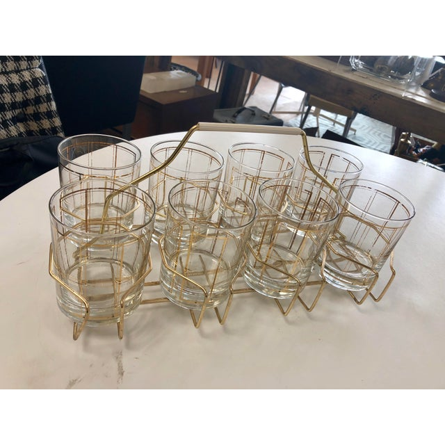 Glass Vintage George Briard Gold Tone Rocks Glass Set With Caddy - 8 Pieces For Sale - Image 7 of 7