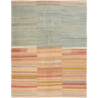 Contemporary Striped Wool Kilim Rug - 5′8″ × 7′6″ For Sale