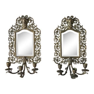 Antique Bradley & Hubbard Brass Mirror Candle Wall Sconces - a Pair For Sale