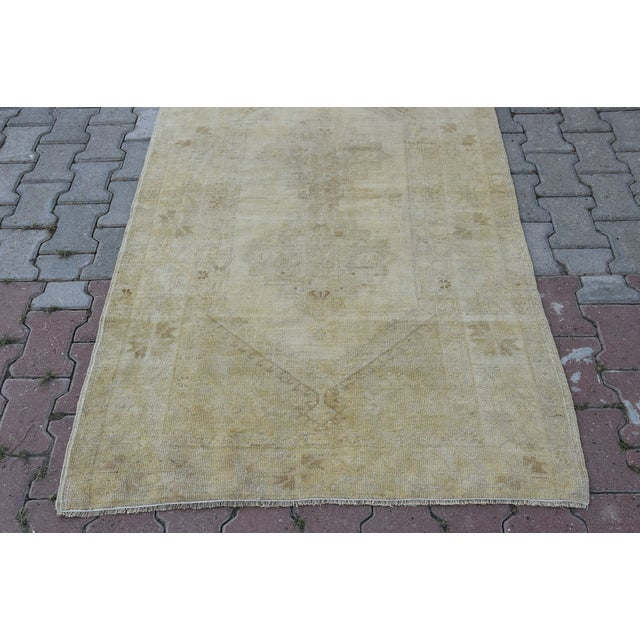 Distressed Turkish Handmade Vintage Beige Rug -3′8″ × 6′1″ - Image 3 of 8