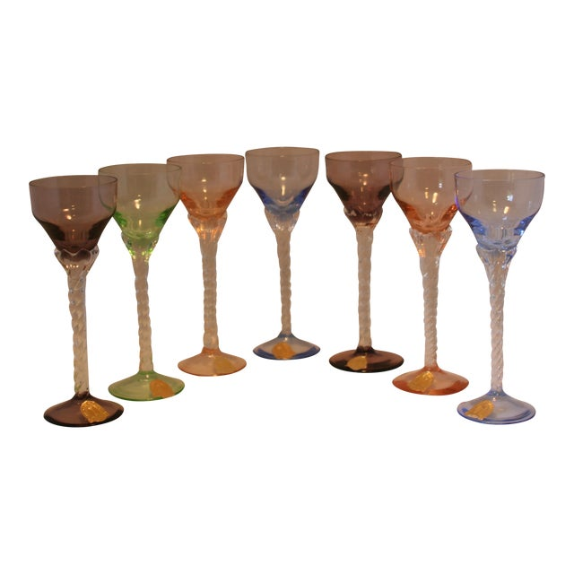 Set of 7 Blefeld Hand Crafted Crystal Multi Color Stemmed Cocktail Cordial Glasses For Sale