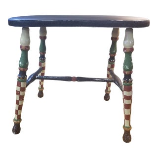 Antique Painted Low Stool For Sale
