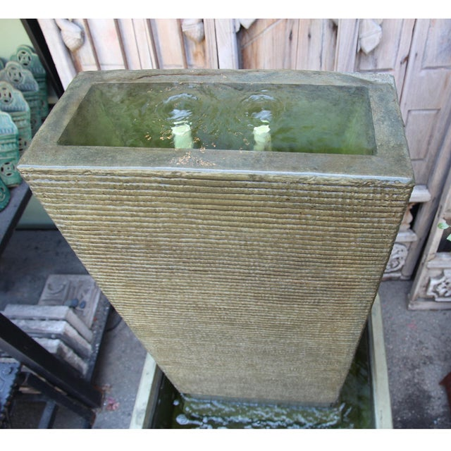 Green Cement Ripple Fountain For Sale - Image 4 of 4