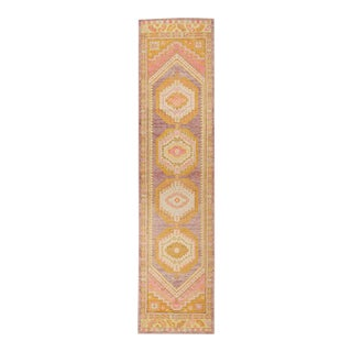 """Colorful Turkish Oushak Runner, 3' X 12'8"""" For Sale"""