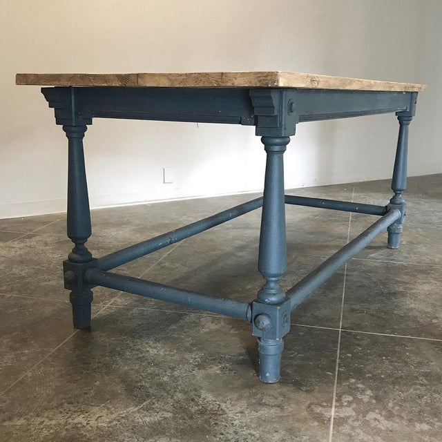 Antique Painted Dining Table With Stripped Top For Sale - Image 11 of 12