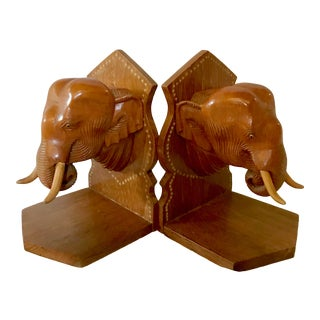 Carved Wooden Elephant Bookends For Sale