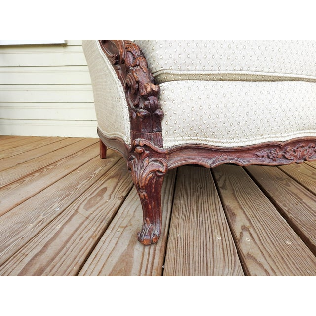 Brown Vintage Rococo Carved Bergere Chair For Sale - Image 8 of 13