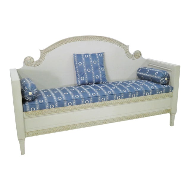 Shabby Chic Swedish Gray Carved Sofa For Sale